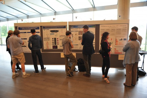 Students present at poster session